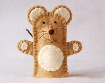 Brown mouse finger puppet, felt finger puppet, brown mouse felt finger puppet, finger puppet, mouse puppet, mouse, brown mouse, mouse puppet