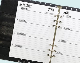A5 2018 Complete Horizontal printed planner calendar - monthly with weekly - month on two pages - week on two pages - Mo2P - Wo2P