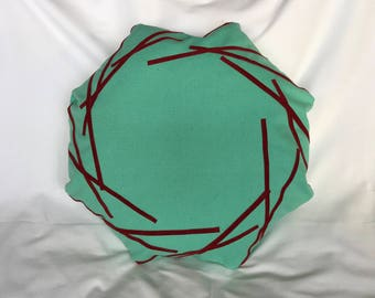Suede and fabric octagonal cushion