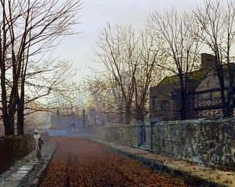 A November Morning Painting by John Atkinson Grimshaw Art Reproduction