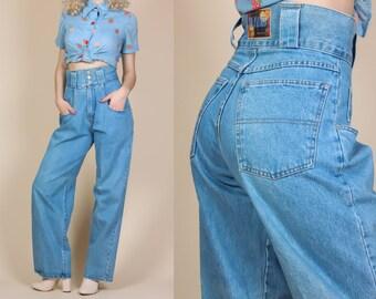 90s Super High Waisted Jeans - Medium // Vintage Wide Leg Denim Pants Retro Mom Jeans