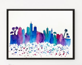 Honolulu Skyline, Hawaii Original Watercolor Painting, Illustration, Travel Illustrator, Wall art Home Decor, Handmade Holiday Gift 12 x 9