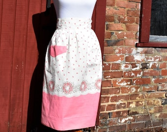 Vintage Pink and Cream Floral Half Apron