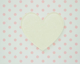 43mm Kawaii Sparkly White Heart Flatback Resin Decoden Cabochon - set of 5