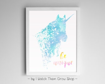"Printable ""Be Unique"" Unicorn Art, Nursery or Kid's Room Unicorn Wall Art, Watercolor Unicorn Art 8x10 11x14 & A4 INSTANT DOWNLOAD"