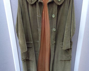 1940's to 1950's Green Corduroy Coat