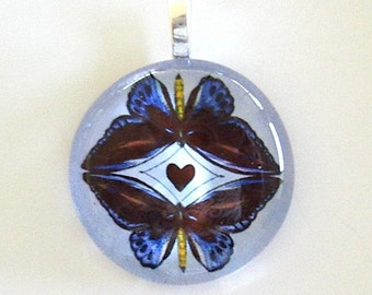 Blue and Black Butterfly Lovers Art  Glass Pendant Butterfly Jewelry