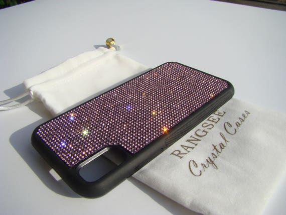 iPhone X Case , Purple Amethyst Rhinestone Crystals on Black Rubber Case. Velvet/Silk Pouch Bag Included, .