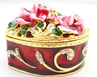 Pink roses with red enamel heart shaped trinket box
