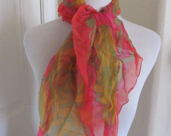 Colorful Retro Sheer Nylon Scarf Square - Affordable Scarves!!! Why Pay More! (17E)