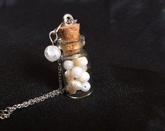 Glass Jar White Shells Necklace