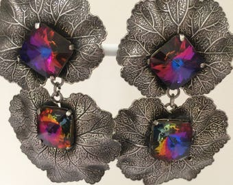 Original 1980s Ichimori IKUO Paris clip on drop earrings - Swarovski crystal