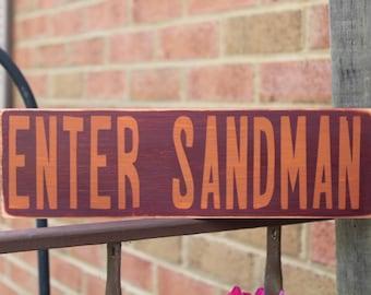 Enter Sandman Wood Signs, Virginia Tech, Virginia Tech Football, Lane Stadium, Fall Signs, Virginia Tech Hokies, Family, College Football
