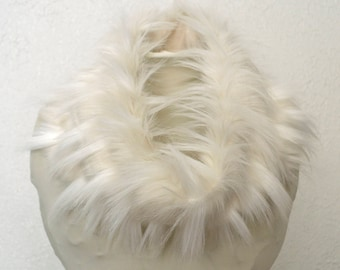 Ivory and Cream Faux Fur Cowl, Neck Warmer, Neck Piece, Circle Scarf, Ready to Ship!