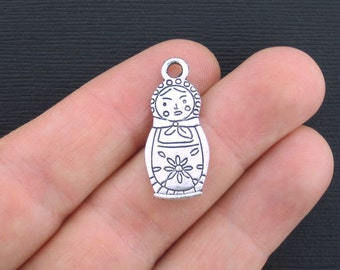 5 Russian Doll Charms Antique Silver Tone Matryoshka Dolls 2 Sided Larger Size - SC415