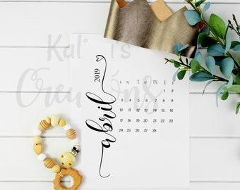 Spanish Abril 2019 Embarazo / Spanish Pregnancy Calendar Instant Download