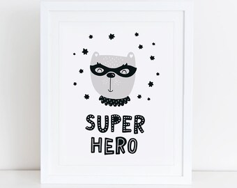 Super Hero Art Print, Scandinavian, Instant Download, Printable Art, Digital Print, Sweet Little Prince Print, Nursery Wall Art, Hero Print