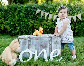 wood sign ONE 1st Birthday photo props one for photos wooden letters First Birthday  ONE, photo props  one, number one, Wooden Number