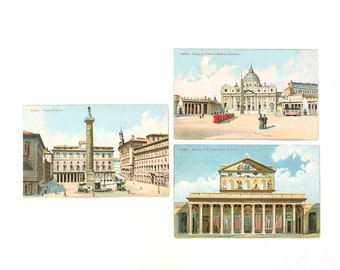 Antique Rome Roma Postcards -  Color Illustrations of Vatican, Colonna Plaza, St Paolo Basilica