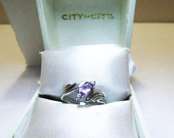 925 Amethyst And Crystal Ring / Oval Cushion Cut Natural Amethyst With Clear Crystals Ladies Size 6