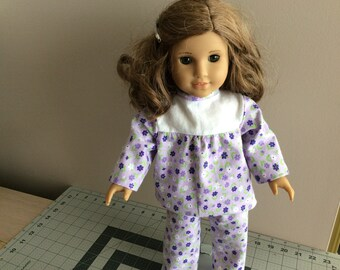 American Girl Pajamas 18 Inch Doll Pajamas. Doll Sleepwear. Doll Nightwear.