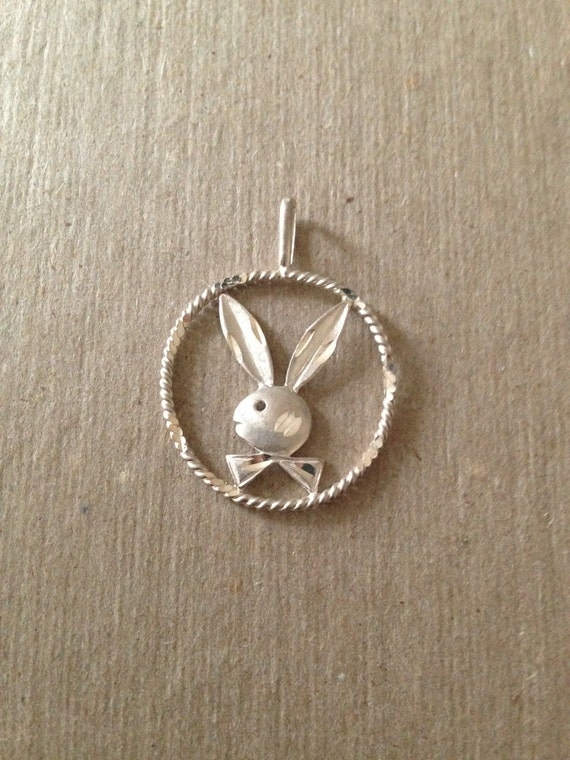 Vintage playboy bunny pendant for a necklace diamond cut aloadofball Image collections