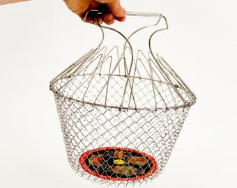 Vintage 1960s Mouli Triumph Stainless Collapsible Basket / Vegetable Washer Drainer Steamer Deep Fryer Fruit Basket / Retro Kitchenware