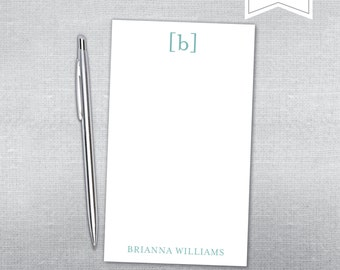Initial and parentheses notepad. Personalized Notepad. Teacher gift. Gift.