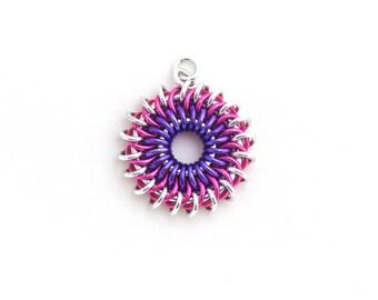 Sunburst Chain Maille Pendant, Aluminum Jewelry, Pink and Purple Jump Ring Jewelry