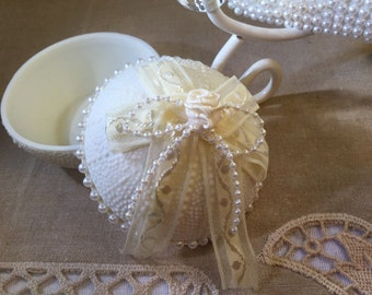 Cream Trinket Bowl with Pearls Gift/Dresser/Dresser Tray/Decor