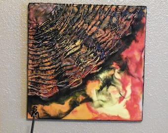 Fire, Encaustic on 10 x 10 cradled wood