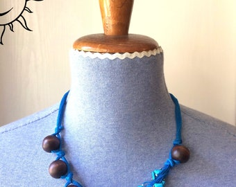LAURASOLELUNA-set necklace and bracelet with large wooden beads and precious gemstones-unique handmade piece