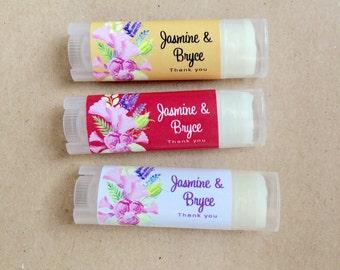 Oval Lip Balm Favors 24ct - Floral Design Bridal Shower Lip Balm Tubes - Lip Moisturizer - Party Favors Chapstick - Oval Chapstick (OL2018)