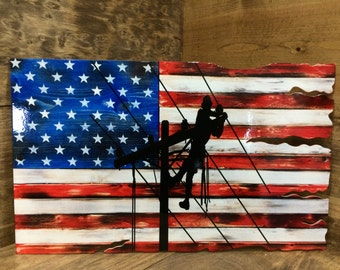 American Flag Tattered lineman