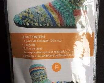 Kit children soles plassard T30/31 to knit your slippers or booties