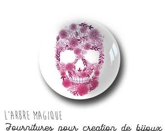 Cabochon fancy 25 mm skull floral Fuchsia ref 1006