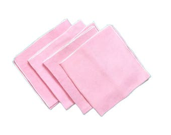 Four Pink Vintage Linen Table Dining Napkins Table Decor Linens Tea Party Feminine