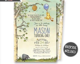 Pooh invitation Etsy