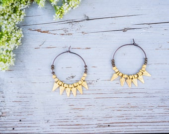 Hoop Earrings, Beaded Hoops, Matte Gold Spikes, Gypsy Style Hoops, Ceramic Beads, Boho Jewelry, Boho Chic,