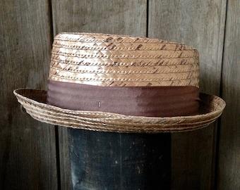 Vintage summer fedora / straw fedora / mens summer fedora / mens summer hat / hat size 7 1/8