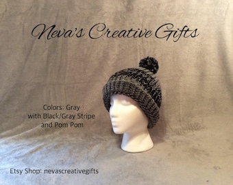 GRAY with GRAY/WHITE Stripe with Your Choice of Pom Pom  -  Cozy Winter Hat