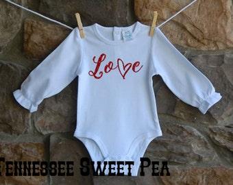 Baby Girl's First Valentine's,  1st Valentine's, Baby Girl Valentine's, Ruffle Bodysuit, Valentine's Day Ruffle Bodysuit, Glitter Design