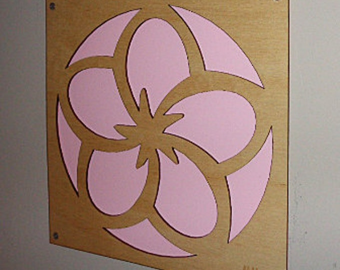 Cherry Blossom Pink flower of Plywood and Recycled Aluminum