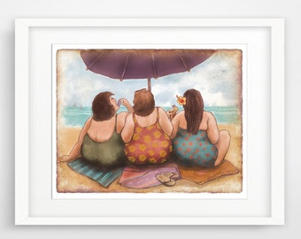 Ladies Who Lunch art, fat women art, beach house art, beach art print, chubby women art, humorous art women, gift for woman, powder room art