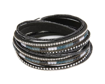 Black Handmade Leather Crystal Magnetic Clasp Wrap Bracelet/ Choker