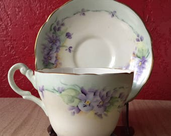 Vintage Grosvenor Hand Painted & Signed Purple Floral Matching Teacup and Saucer Set