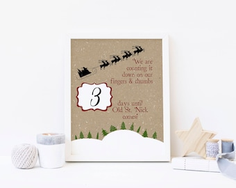 We Are Counting Down the Days - Advent Calendar Digital Print - Instant Download