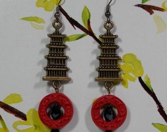 "3"" Long Earrings Pierce Dangling Antiqued Gold/Brass Pagoda Asian Motif Red Cinnabar Black Faceted Glass Bead Fashion Accessory Gift Idea"
