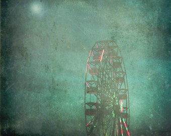 Dark Circus Photograph Surreal Carnival Town Ferris Wheel Dark Carnival Art Deep Teal Wall Art 8x8