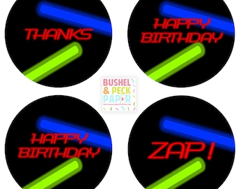 """PRINTABLE Laser Tag 2"""" Rounds - #DIY #Printable Instant #Download (for print at home: stickers, gift tags or cupcake toppers)"""